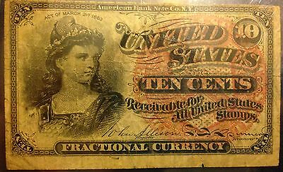 1863 10 Cent US Obsolete Fractional Currency Note 3rd Issue