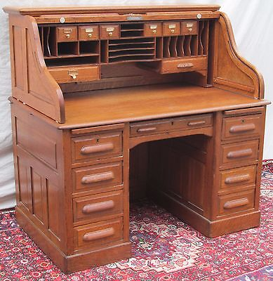 Excellent Victorian Solid Tiger Raised Paneled Oak S Roll Top Desk-Top Quality!