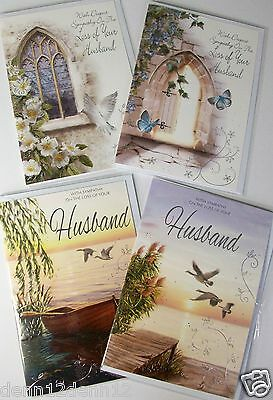 LOSS OF HUSBAND SYMPATHY CARDS, 4 DESIGNS X6, JUST 27p, WRAPPED, FOILED (B179