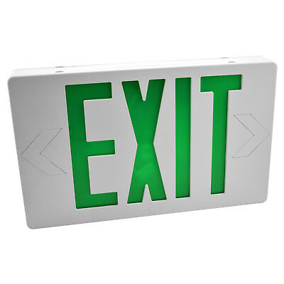 Green & White LED Exit Sign Slim & Low Profile with Battery Backup
