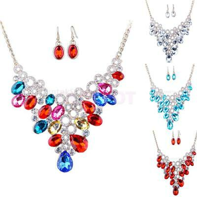 Wedding Bridal Women's Crystal Statement Choker Necklace Earrings Jewelry Set