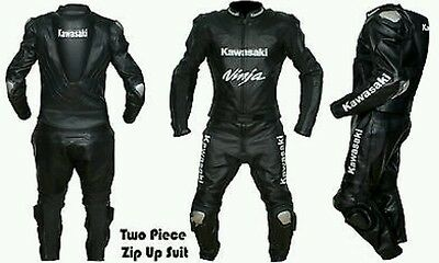 Kawasaki Black2   Motorbike Complete Leather  Suit - Ce Approved Full Protection