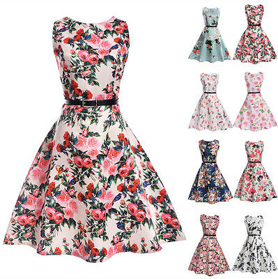 UK Parent-Child Outfit Mother Belt Daughter Womens Girls Casual Party Dress