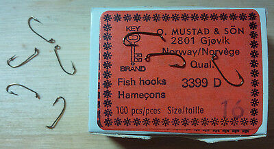 Mustad 3399D, Sproat Hooks, Size 16, Package of 100, Made in Norway