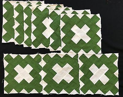 Antique 1840 Poison Green & Black Coral Courthouse Steps Quilt Block