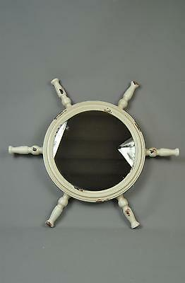 Vintage style Antique White distressed Boat Wheel style Wall Mirror