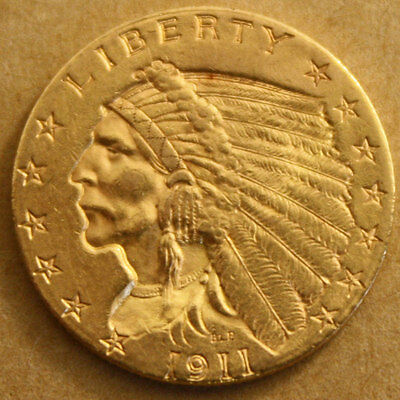 1911 $2 1/2 Gold Indian Quarter Eagle Coin - Nice Grade