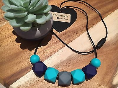 Silicone Sensory (was teething) Necklace for Mum Jewellery Beads Aus Gift navy