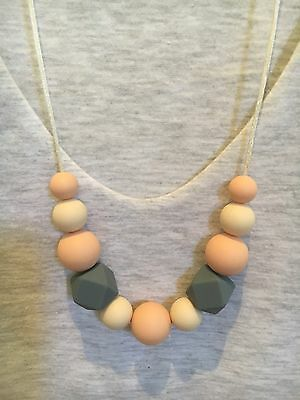 Silicone Sensory (was teething) Necklace for Mum Jewellery Beads Aus Gift Cream