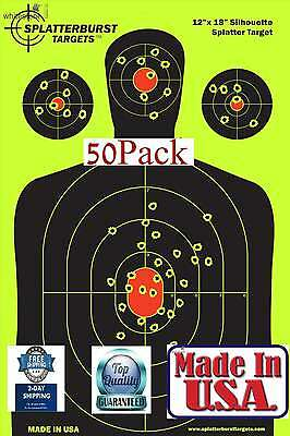 "50 Pk 12""x18"" Shooting Targets High For Visibility Hand Gun Rifle Paper Target"