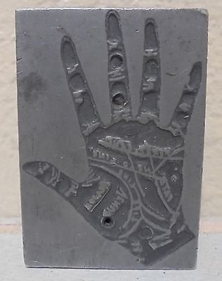Vintage Hand Print Palm Letterpress Printing Block Metal & Wood