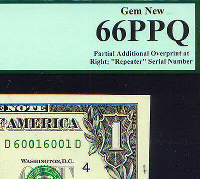 2013 $1 Error ADDITIONAL OVERPRINT # at right FANCY serial PCGS 66 PPQ
