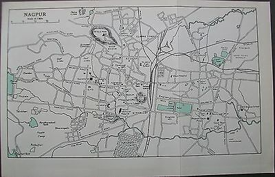 1959 India Nagpur Town City Plan Murrays Map Streets Stations Buildings
