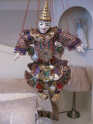 Beautiful Embroidered King Nat Marionette Puppet From Burma