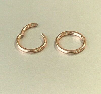 20G 18G 16G 14G Surgical ROSE GOLD HINGED Segment Nose Ring Septum Clicker Daith