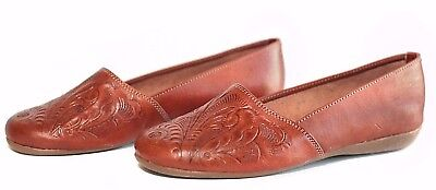 3e067ce4506b Women s Huarache Sandals TOOLED BROWN FLATS Closed Toe MEXICAN SANDALS  LEATHER