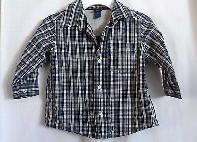 Boys 2T Blue Plaid Warm Gray Lined Dress Casual Shirt Nwt ~ Oshkosh