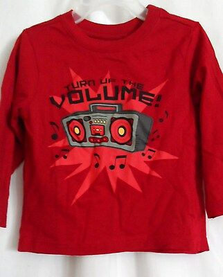 Boys 3T 36 Months Red Turn Up The Volume Radio Shirt Nwt ~ The Children's Place