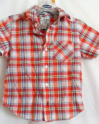 Boys 12-18 Months Orange Plaid Button Casual Shirt Nwt ~ The Children's Place