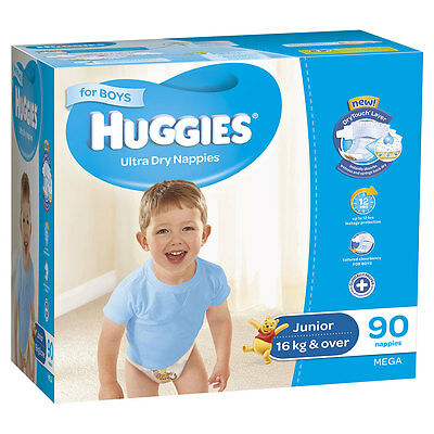 Huggies Mega Junior Nappies 90 Pack - Boys - NEW