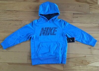 NWT NIKE boys Therma-fit Sweatshirt Top Hoodie Size Small Blue