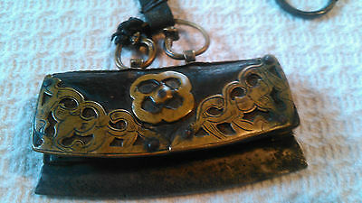ANTIQUE FIRE STARTER POUCH WITH CONTENTS & ARROW HEAD INSIDE.......1800s