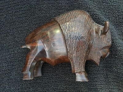 Collectible Hand Carved Iron Wood American Buffalo / Bison Figurine paperweight