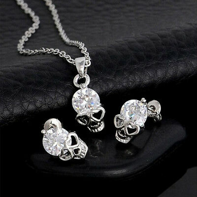 Elegant Gold Sliver Plated Rhinestone Skull Head Necklace Earrings Jewelry fo