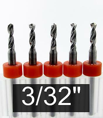"""3/32"""" Carbide Drill Bits - FIVE pieces -  1/8"""" Shaft cnc pcb model hobby R/S"""