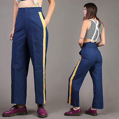 vtg MILITARY high waist BANDLEADER cadet striped pants arm navy uniform 70s M
