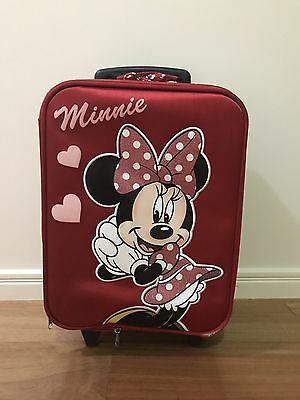 Minnie Mouse Suitcase Trolley Cabin Bag w Wheels - Kids Children Disney