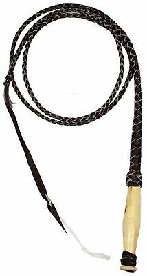 6' Leather Braided Western Bull Whip W/ Wooden Handle! NEW HORSE TACK!