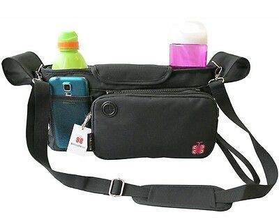 Universal Stroller Organizer by Bebeclasse Black - Stylish Baby Diaper Bag - Zip