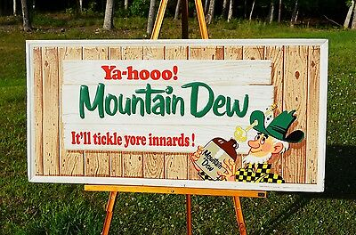 VINTAGE 60s MOUNTAIN DEW HILLBILLY SODA DRINK SIGN SUPER COLLECTABLE PIECE!