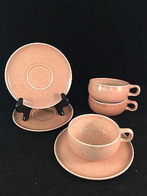 Lot of 3 Russel Wright Steubenville Light Pink Cup & Saucer Sets (6 Pieces)