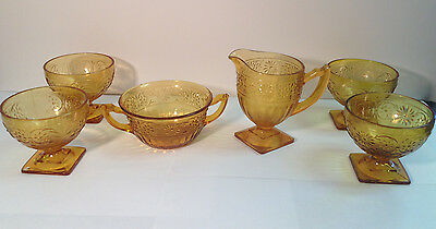 Lot of 8 Daisy Indiana Glass Co. Depression Glass Pieces - Cups, Bowls & Creamer