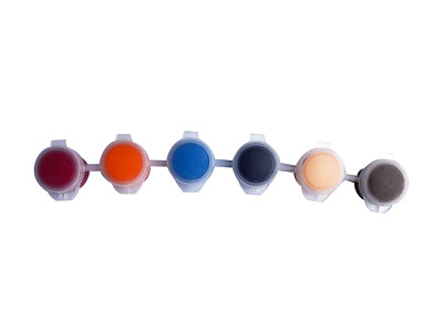 10 pcs x 6 Colour 2ml Acrylic Paint Pots Safe Pink, Orange, Blue, Brown, White