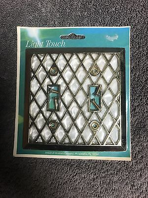 VTG Lattice Mother Of Pearl Double Toggle Light Switch Cover Plate Brass Edmar
