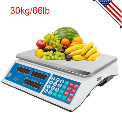 US SHIP! 60LB Digital Weight Scale Price Computing Food Meat Produce Deli Market
