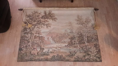 "Large Antique / vintage French Wall Hanging Tapestry 56"" x 44"" Pastoral Scene"