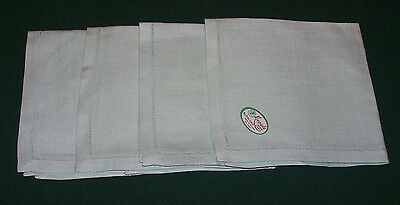 "4 Vintage Irish Linen Napkins, Hem Stitch, Green, Original Label, 13"" Never Used"