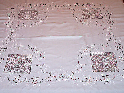 "Gorgeous Vintage Italian Cutwork, Eyelet & Filet Lace Tablecloth 72"" Square 1920"
