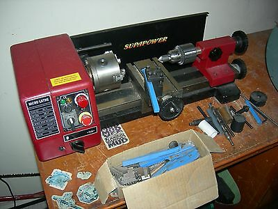 Variable Speed Mini Metal Hobby Lathe as new with turning tools and drill chuck
