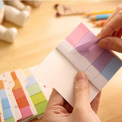3pcs Cute Rainbow Colored Self-Adhesive Memo Pad Sticky Note Page Marker Flag