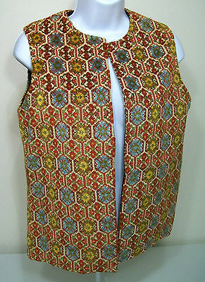 Hippie Boho Tapestry Carpet Woodstock Vest Size M Brocade By Savvy Vtg 60-70s