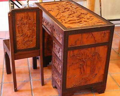 Vintage Hand carved Asian Knee Hole Desk and Chair