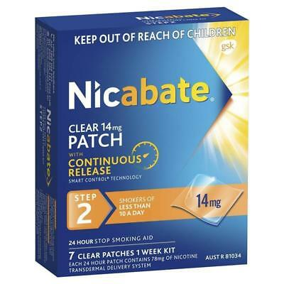 * Nicabate Clear 14Mg Patch 7 Clear Patches 1 Week Kit Step 2 Quit Stop Smoking