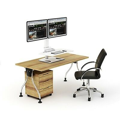 sit and stand desk workstation DWS03-T02WH Dual Display mount Height Adjustable