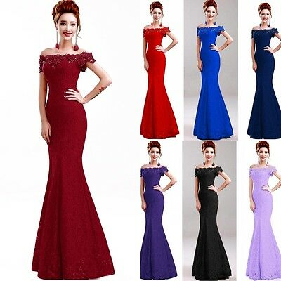 Long Evening Formal Party Dress Prom Ball Gown Bridesmaid Mermaid Lace New