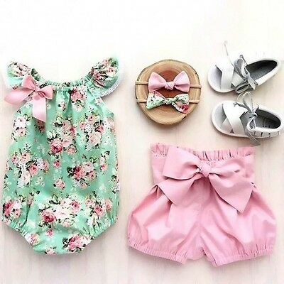 Infant Kids Baby Girls Floral Tops Romper Shorts Summer Outfits 2Pcs Set Clothes
